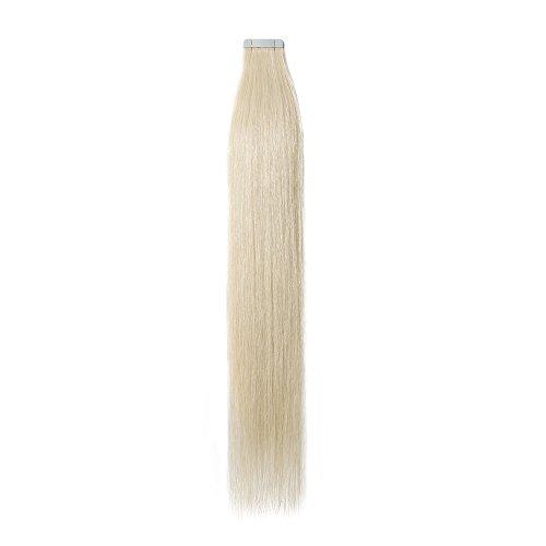 40-55cm extension capelli veri adesive 20 fasce 50g/set 100% remy human hair - tape in hair extension allungamento con biadesivo (45cm #60 biondo platino)