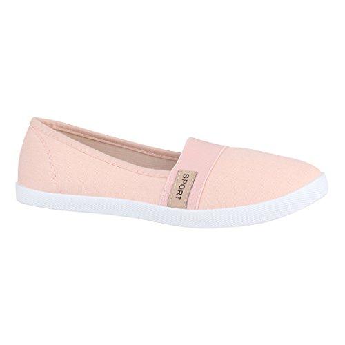 Elara Damen Ballerina | Slip-Ons Freizeit | Flach Bequeme Slipper Flats K160 Pink-40