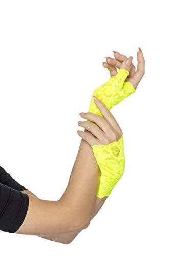 m Accessoires Zubehör Fingerlose Damen Spitzen-Handschuhe im 80er Jahre Look, perfekt für Karneval, Fasching und Fastnacht, Gelb ()