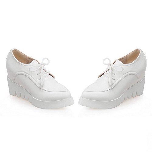 AllhqFashion Femme Pu Cuir à Talon Haut Pointu Couleur Unie Lacet Chaussures Légeres Blanc