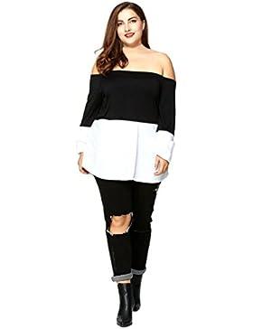 OverDose Mujeres fuera del hombro Casual camiseta suelta de manga larga Top Blusa