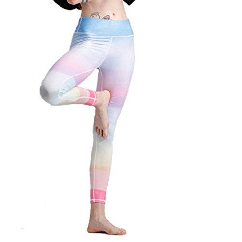 ent-Farbige Regenbogen-Farbige Yoga-Gamaschen Frauen-Yoga-Hosen Tanzkleidung Leggings (Regenbogen-Größe S M L) M (Regenbogen-farbige Leggings)