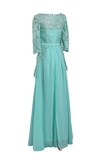 ivyd ressing Femme à Moitié col rond manches mousseline et pointe longue Prom robe robe de bal robe du soir - Jaegergruen