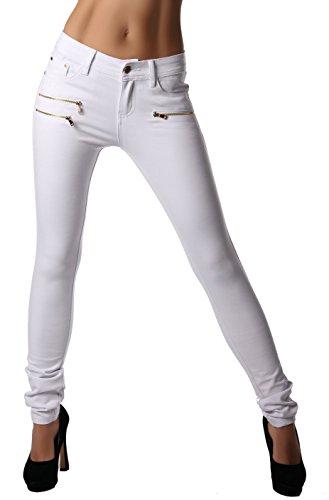 Modische bequeme Damen Jeggings Leggings Hüfthose Stretch Slimfit (Weiß, L / 40)