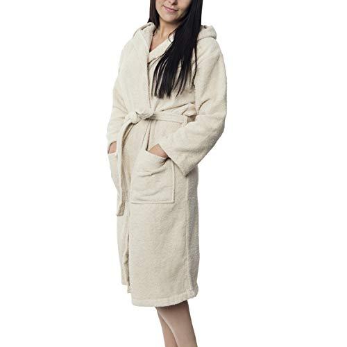 Twinzen Damen Bademantel (XS, Hellbeige/Taupe) - 100% Baumwolle, Oeko TEX Zertifiziert - Bademantel aus Baumwollfrottee mit Kapuze, 2 Taschen, Gürtel - Saunamantel, Weich, Saugfähig und Bequem