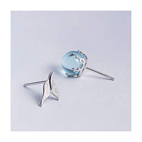 MIIAOPAI Meerjungfrau Schaum Ohrringe Weiblichen 925 Silber Einfache Temperament Ohrringe Koreanische PersöNlichkeit Kreative Ohrringe -