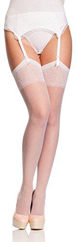 Antie calze per reggicalze donna 20 den (bianco, xl (taglia produttore: 5))