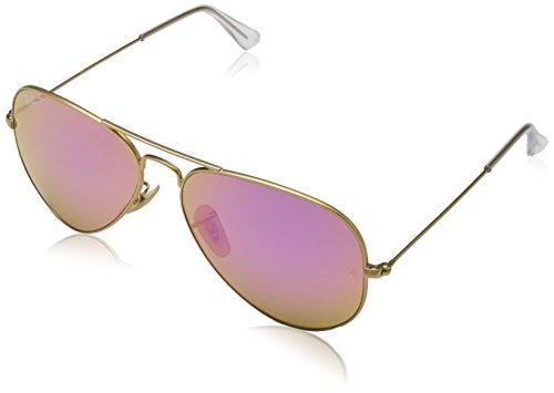 Ray-Ban Herren Sonnenbrille Rb 3025, Matte Gold/Brownmirrorfucsiapolar, One Size (58)