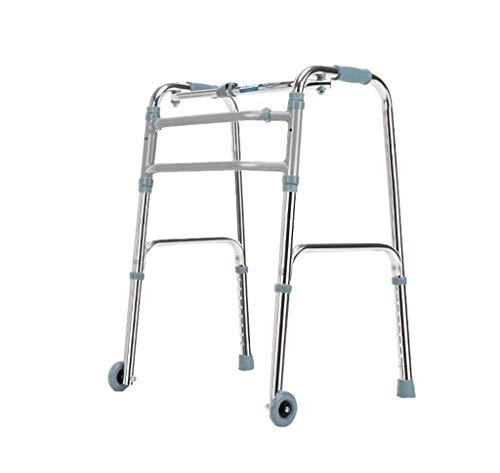 Relaxbx Tragbare Faltbare rollator Walker fram aid Vier Beine spazierstock stehend wc Rahmen mit 2 Rad für Erwachsene senioren deaktiviert