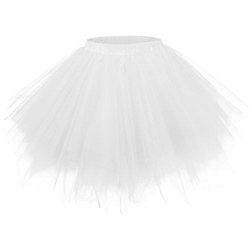 50er Vintage Tüllrock Petticoat Mehrfarbig Bubble Tanzkleid Rock Weiß-L/XL ()