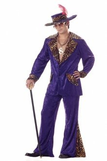 y Dress Costume in Purple with Leopard Print Trim - Large - fits chest 42 to 44 by California Costumes (1970 Pimp Kostüme)