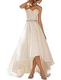 JAEDEN Brautkleid Hochzeitskleider Vintage Damen Herzausschnitt Vorne Kurz Hinten Lang