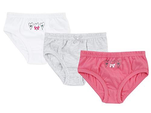 Jacky Jacky Mädchen Slip Unterhosen, 3er-Pack, Größe: 98/102, Alter: 3-4 Jahre, Pink/Weiß/Grau, 710040
