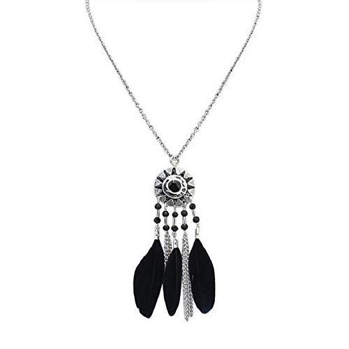 CLDE Jewelry-Damen Lang - Feder Stilvoll, Retro, Ethnisch Schwarz, Regenbogen, Rot 70 cm Modische 1pcVerabredung:Schwarz