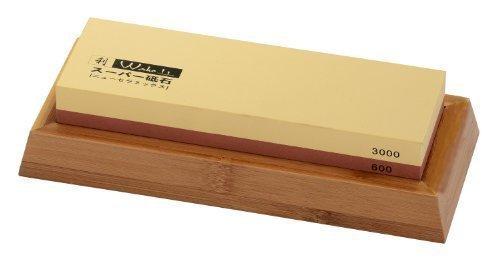 Nass/Kombi Schleifstein, Wetzstein, Wasserstein mit Halter aus Bambus 600er/3000er