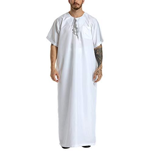Zhhlaixing Muslimische Herrenbekleidung Kaftan Block Islamischer Abaya Jilbab Muslimisches Kleid Halbe Hülse Maxi Kaftan Arabischer Nahost Islamische Yards-Roben (Männer Nahost-kleidung)