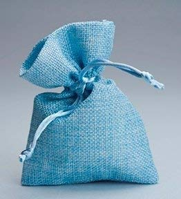 Flm 50 sacchetti di juta azzurri nascita battesimo per bomboniere confetti compleanni matrimonio stile shabby chic