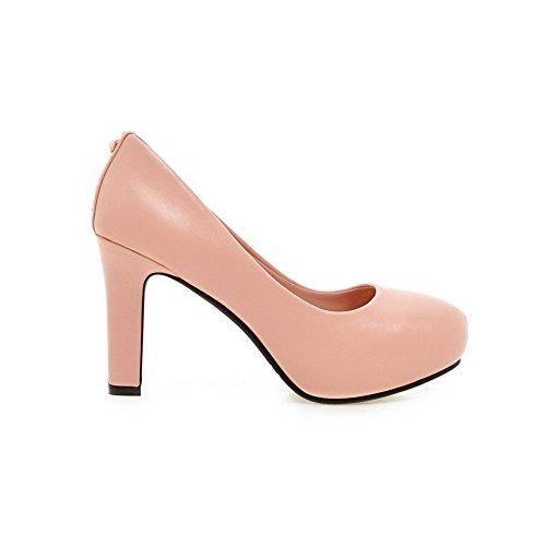 VogueZone009 Femme Couleur Unie Matière Souple à Talon Haut Tire Rond Chaussures Légeres Rose