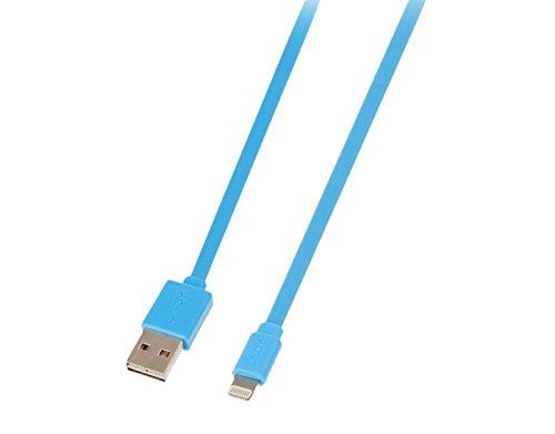 Usb Flachbandkabel (LINDY USB an Lightning Flachbandkabel, blau 1m Lade- und Sync-Kabel für iPhone, iPad & iPod)