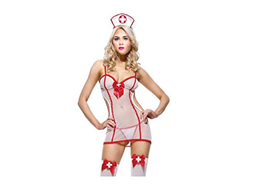 505bc92ba35 Red Ribbon Lingerie Adult Sheer Nurse Fancy Dress Costume (One size 8-10)