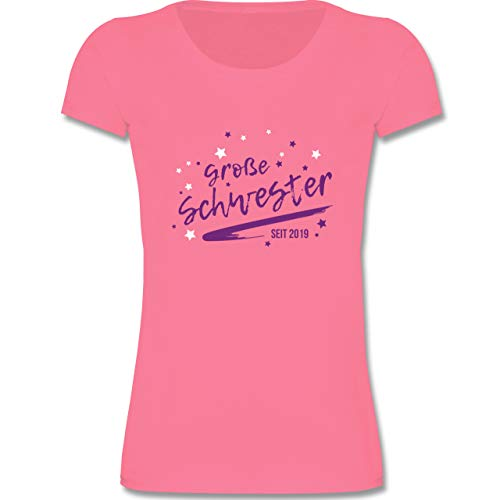 Anlässe Kinder - große Schwester seit 2019-98-104 (3-4 Jahre) - Rosa - F288K - Mädchen T-Shirt