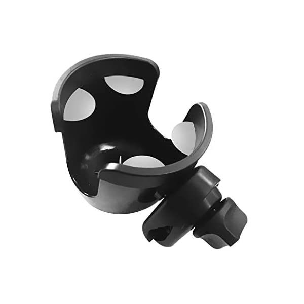 Universal Cup Holder Bottle Holder 360 Degrees Rotation for Baby Stroller, Bicycle, Wheelchair, Walker, Trolleys Perfeclan The cup holder itself nicely holds your travel cup without any fear of falling out Environmental protection plastic material, durable and lightweight, no harm to babies. Easy to install and take apart, will not spend you much time. 4