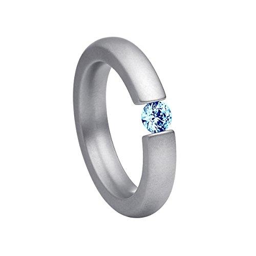 Heideman Ring Damen Spannring schmal aus Edelstahl Silber farbend matt Damenring für Frauen mit Swarovski Stein Zirkonia blau im Brillant Schliff 4mm