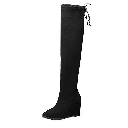 VogueZone009 Donna Scarpe A Punta Alta Altezza Tacco Alto Puro Stivali con Nodo Nero
