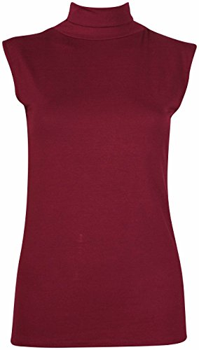 Femmes Sans Manches Femme Extensible Tortue Polo roulé Encolure Gilet uni T-Shirt Pull Bordeaux