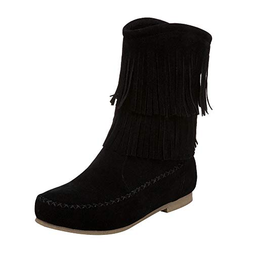 Stiefel Damen Sunnyadrain lässig Vliese Reine Farbe Flock Zylinder Quaste Flache Runde Zehe Herbst Winter Schuhe Wedges Stiefeletten für Frauen