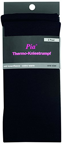 2er PACK THERMO & WOLL KNIESTRUMPF FÜR DAMEN & TEENAGER (one-size, Thermo: schwarz)
