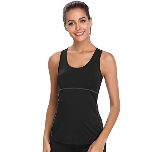 Joyshaper Training Top Damen Quick Dry Kompression Sport Tanktop Sportshirt Trainingsshirt Shirt T-Shirt für Yoga und Fitness Running Top Weste Vest (Schwarz, Medium)