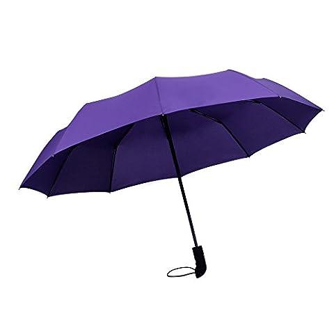 WILLIAM&KATE Bigger Windproof 10 Bone Durable Fully Automatic Three Fold Business Pure Black Umbrella (purple)
