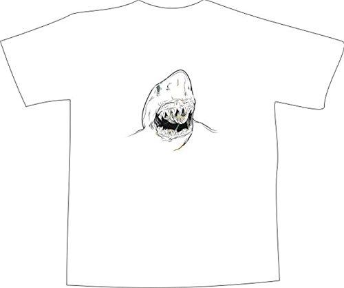 T-Shirt E368 Schönes T-Shirt mit farbigem Brustaufdruck - Logo / Grafik - minimalistisches Design - DER WEISSE HAI Schwarz