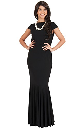 KOH KOH® Plus Size Damen Maxikleid Fischschwanz Nixe Cocktail Party Kleid Schick, Farbe Schwarz, Größe XXL / 2X Large (Fluss Halloween Kostüm)