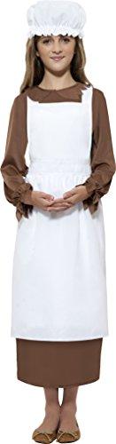 Smiffys- Smiffys Victorian Kit, Weiß, mit Schürze und Mütze Mädchen, M - Alter 7-9 Jahre, 21905 (Weiße Schürze Kostüm)