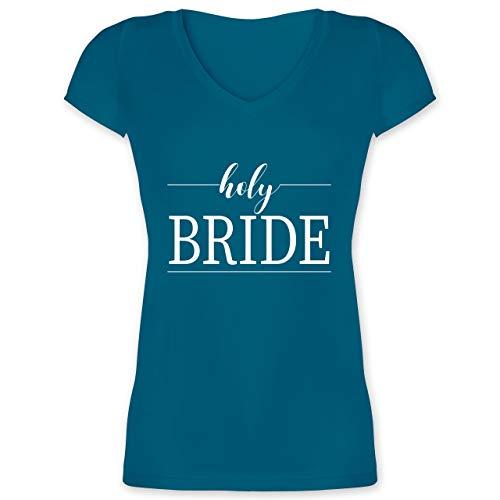 (JGA Junggesellinnenabschied - holy Bride - L - Türkis - XO1525 - Damen T-Shirt mit V-Ausschnitt)