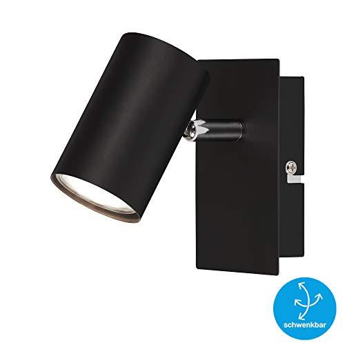 Briloner Leuchten Foco de pared, giratorio, para 1 bombilla, GU10, máx. 40 vatios, negro