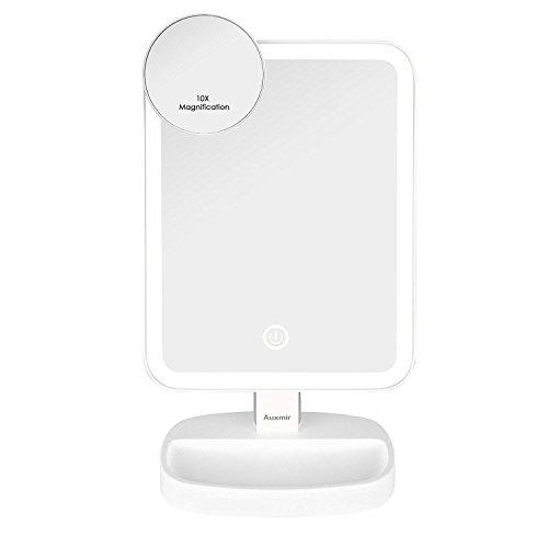 Auxmir Kosmetikspiegel mit LED Licht, Tischspiegel Rasierspiegel Schminkspiegel Beleuchtet mit...