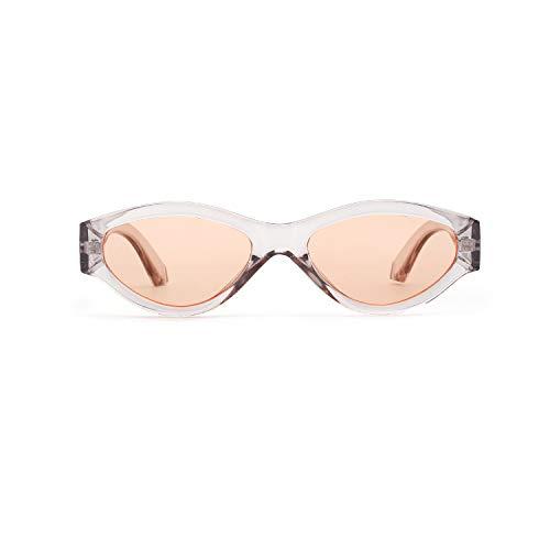 E3NU Design Polygon quadratische Sonnenbrille Retro neue Sonnenbrille Herren/Frauen UV400 Orange Flakes -