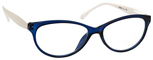 Blau Weiß Katzen Eye Lesebrille Damen + Stärke 3,5 (Adult Aviator Hut)