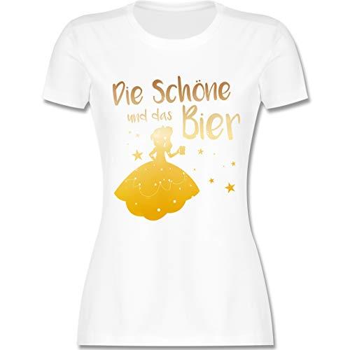 Typisch Frauen - Die Schöne und das Bier - M - Weiß - L191 - Damen Tshirt und Frauen T-Shirt -