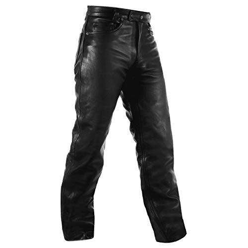 A-Pro Biker Jeans Hosen Cruiser Leder Motorrad Stil Hose Lederjeans Schwarz 40