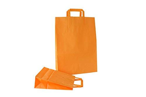 (PGV Papiertragetaschen mit Flachhenkel Orange / Bicolore Melone (18 + 8 x 24 cm, 10 Stück))