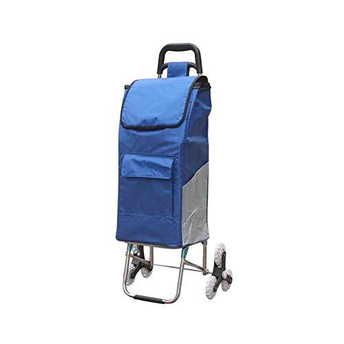 YiWu Einkaufstrolleys Einkaufswagen, Große Kapazität Super Leichte Handliche Wheeled Shopping Lebensmittel Trolley Bag (Farbe : Dunkelblau)