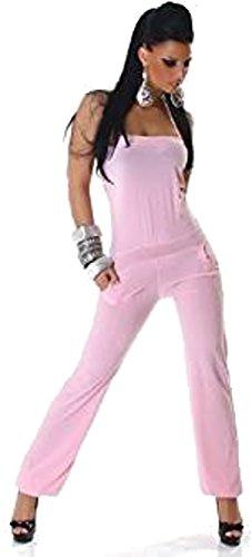 Overall Jumpsuit Neckholder Einheitsgröße S-M - verschiedene Farben (one size, Rosa)