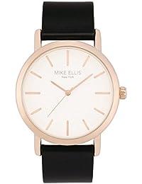 Mike Ellis New York L2979/4 - Reloj de pulsera para mujer, oro rosado, correa de piel color negro