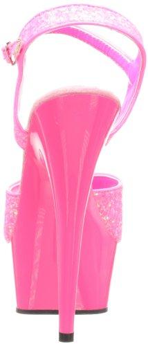 Pleaser Damen Delight-609uvg Peeptoe Sandalen Rose (Neon H. Pink Gltr/H. Pink)