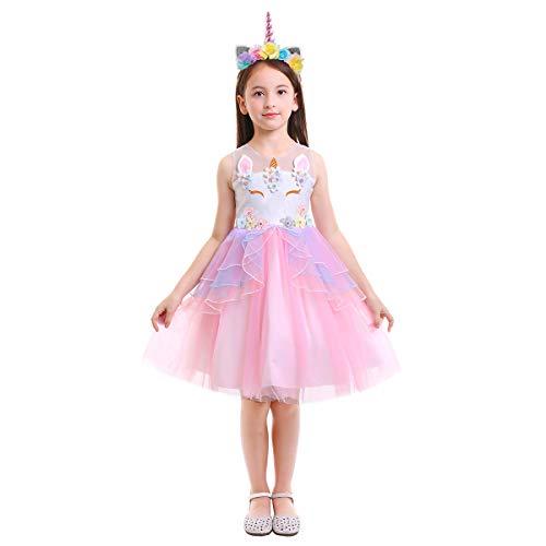 OBEEII Enfant Fille Costume Licorne Robe Florale Princesse Tutu Jupe Canaval Déguisement de Photographie Cérémonie Anniversaire Fête Soirée Spectacle Robe Rose 5-6 Ans