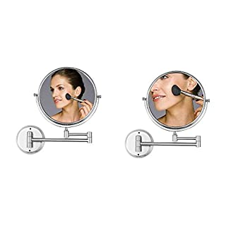 Ambrosya® | Exclusive cosmetic mirror made of stainless steel with 5x magnification | Bathroom Lamp Light LED Makeup Vanity Table WC (Stainless Steel (Brushed), 5X)